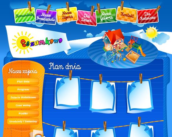 Strona internetowa w stylu dziecięcym